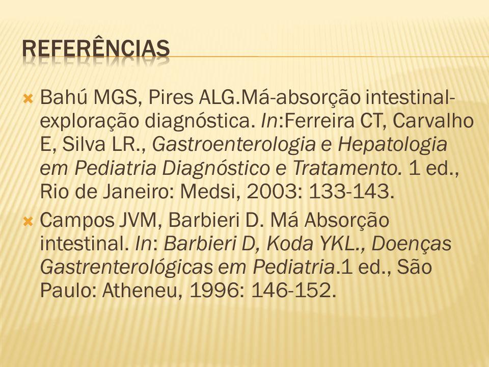 Bahú MGS, Pires ALG.Má-absorção intestinal- exploração diagnóstica.