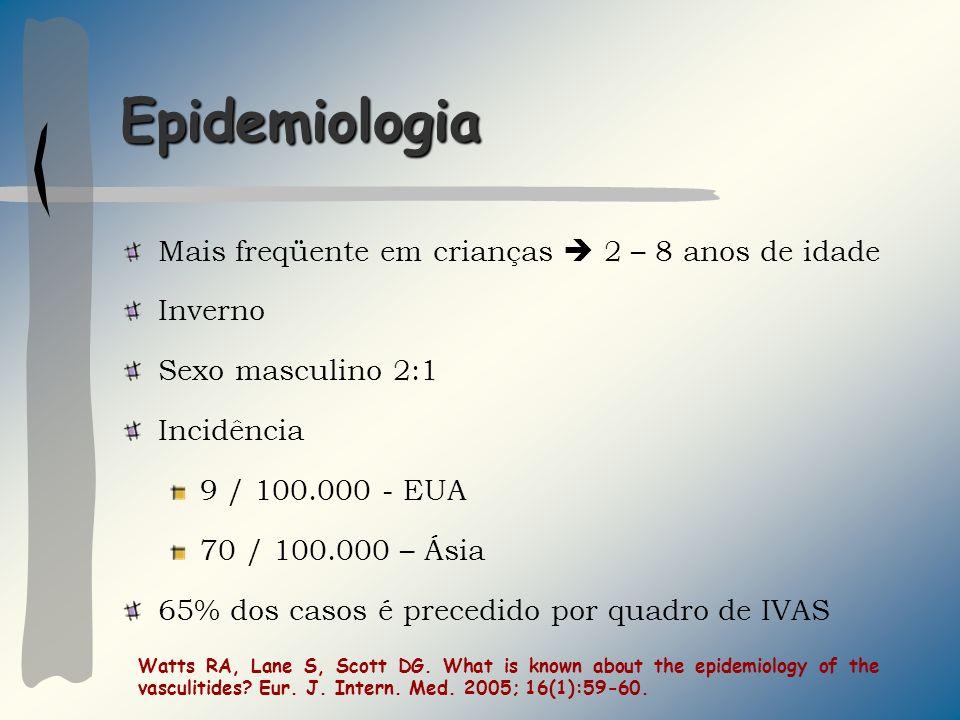 Epidemiologia Mais freqüente em crianças 2 – 8 anos de idade Inverno Sexo masculino 2:1 Incidência 9 / 100.000 - EUA 70 / 100.000 – Ásia 65% dos casos é precedido por quadro de IVAS Watts RA, Lane S, Scott DG.