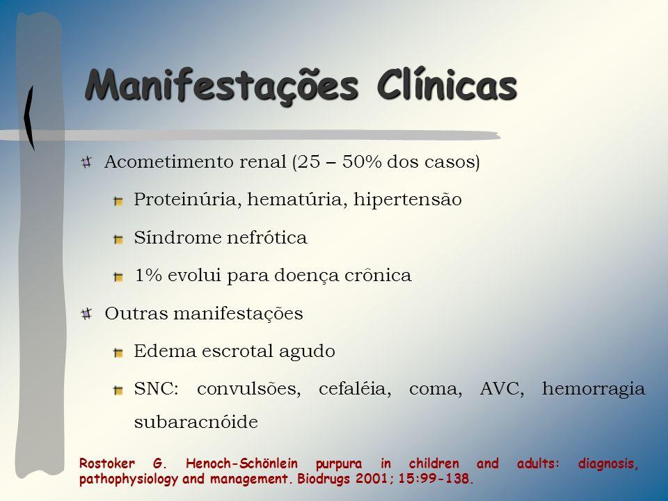 Manifestações Clínicas Acometimento renal (25 – 50% dos casos) Proteinúria, hematúria, hipertensão Síndrome nefrótica 1% evolui para doença crônica Ou