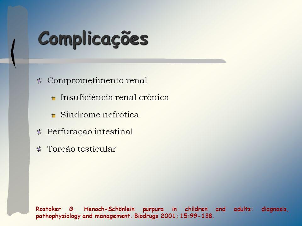 Complicações Comprometimento renal Insuficiência renal crônica Síndrome nefrótica Perfuração intestinal Torção testicular Rostoker G. Henoch-Schönlein