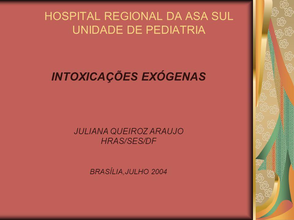 HOSPITAL REGIONAL DA ASA SUL UNIDADE DE PEDIATRIA INTOXICAÇÕES EXÓGENAS JULIANA QUEIROZ ARAUJO HRAS/SES/DF BRASÍLIA,JULHO 2004