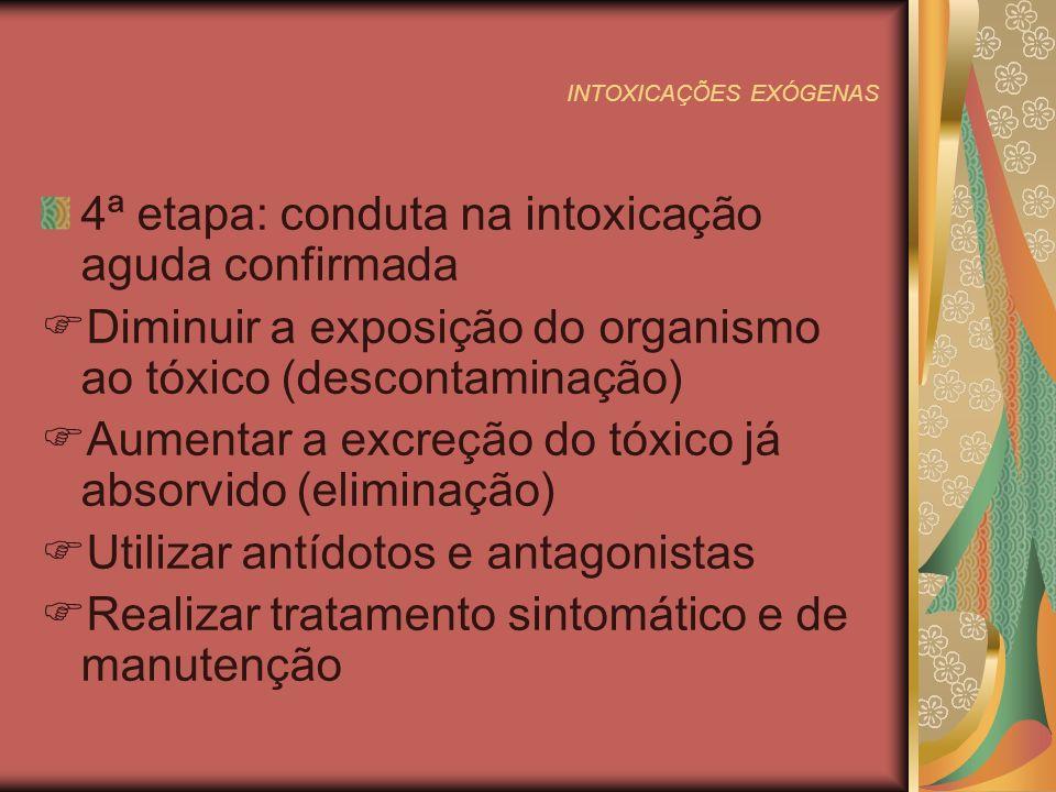 INTOXICAÇÕES EXÓGENAS 4ª etapa: conduta na intoxicação aguda confirmada Diminuir a exposição do organismo ao tóxico (descontaminação) Aumentar a excreção do tóxico já absorvido (eliminação) Utilizar antídotos e antagonistas Realizar tratamento sintomático e de manutenção