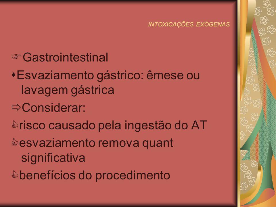INTOXICAÇÕES EXÓGENAS Gastrointestinal Esvaziamento gástrico: êmese ou lavagem gástrica Considerar: risco causado pela ingestão do AT esvaziamento remova quant significativa benefícios do procedimento