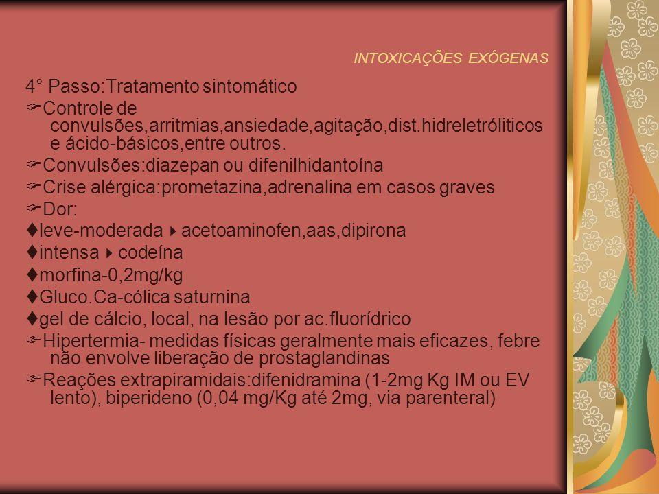 INTOXICAÇÕES EXÓGENAS 4° Passo:Tratamento sintomático Controle de convulsões,arritmias,ansiedade,agitação,dist.hidreletróliticos e ácido-básicos,entre outros.