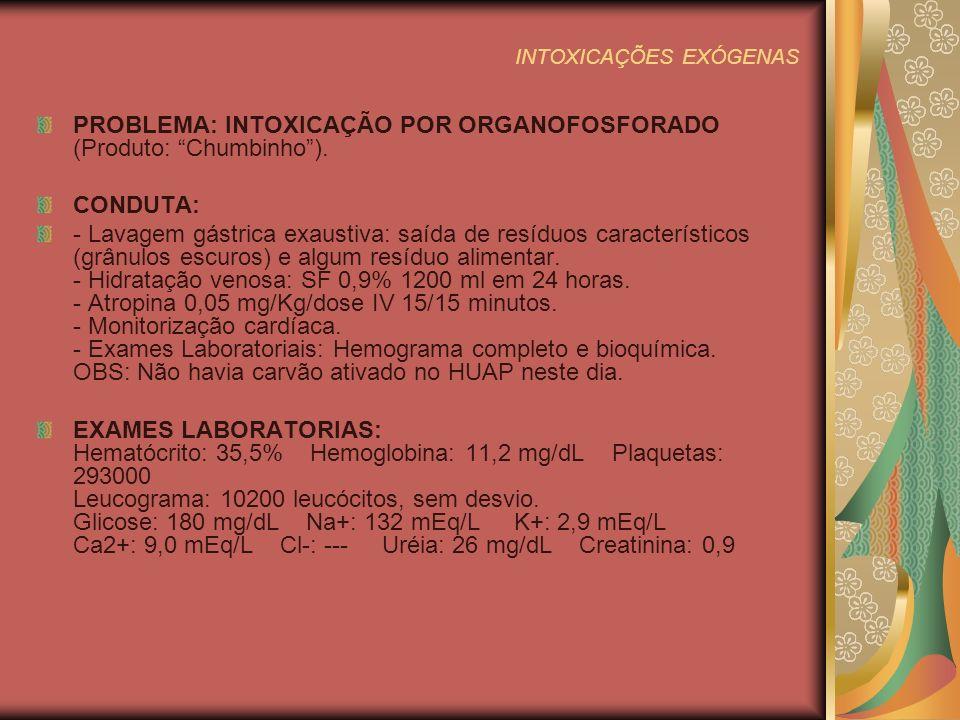 INTOXICAÇÕES EXÓGENAS PROBLEMA: INTOXICAÇÃO POR ORGANOFOSFORADO (Produto: Chumbinho).