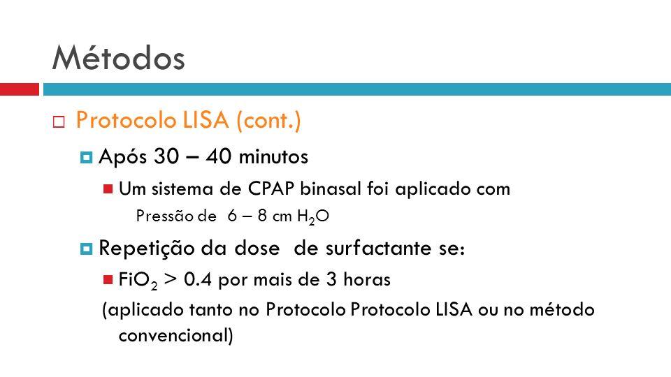 Métodos Protocolo LISA (cont.) Após 30 – 40 minutos Um sistema de CPAP binasal foi aplicado com Pressão de 6 – 8 cm H 2 O Repetição da dose de surfactante se: FiO 2 > 0.4 por mais de 3 horas (aplicado tanto no Protocolo Protocolo LISA ou no método convencional)