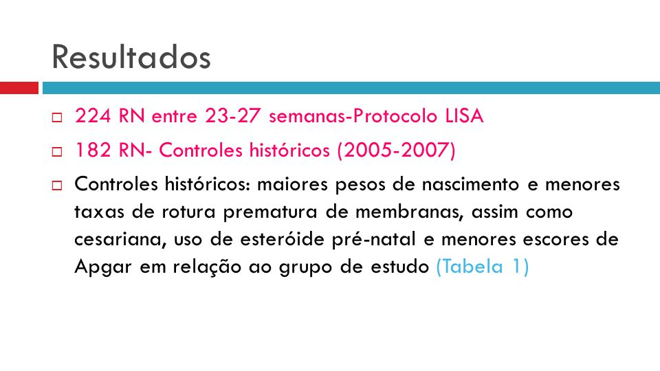 224 RN entre 23-27 semanas-Protocolo LISA 182 RN- Controles históricos (2005-2007) Controles históricos: maiores pesos de nascimento e menores taxas de rotura prematura de membranas, assim como cesariana, uso de esteróide pré-natal e menores escores de Apgar em relação ao grupo de estudo (Tabela 1) Resultados
