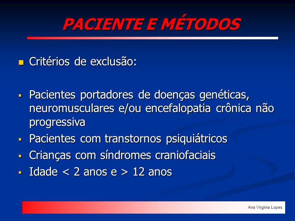 PACIENTE E MÉTODOS Ana Virginia Lopes Critérios de exclusão: Critérios de exclusão: Pacientes portadores de doenças genéticas, neuromusculares e/ou en