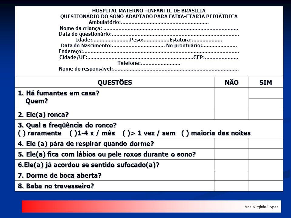 HOSPITAL MATERNO –INFANTIL DE BRASÍLIA QUESTIONÁRIO DO SONO ADAPTADO PARA FAIXA-ETÁRIA PEDIÁTRICA Ambulatório:........................................