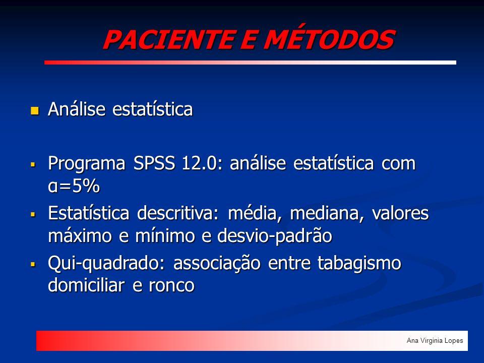 PACIENTE E MÉTODOS Ana Virginia Lopes Análise estatística Análise estatística Programa SPSS 12.0: análise estatística com α=5% Programa SPSS 12.0: aná