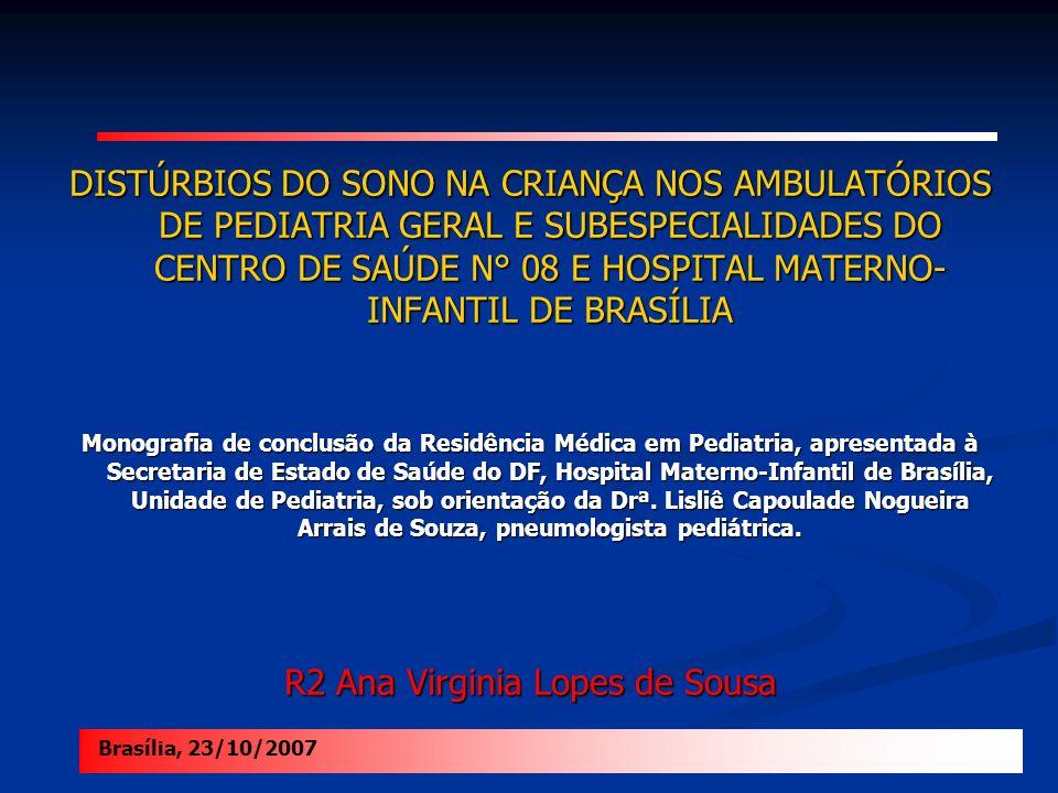 DISTÚRBIOS DO SONO NA CRIANÇA NOS AMBULATÓRIOS DE PEDIATRIA GERAL E SUBESPECIALIDADES DO CENTRO DE SAÚDE N° 08 E HOSPITAL MATERNO- INFANTIL DE BRASÍLI