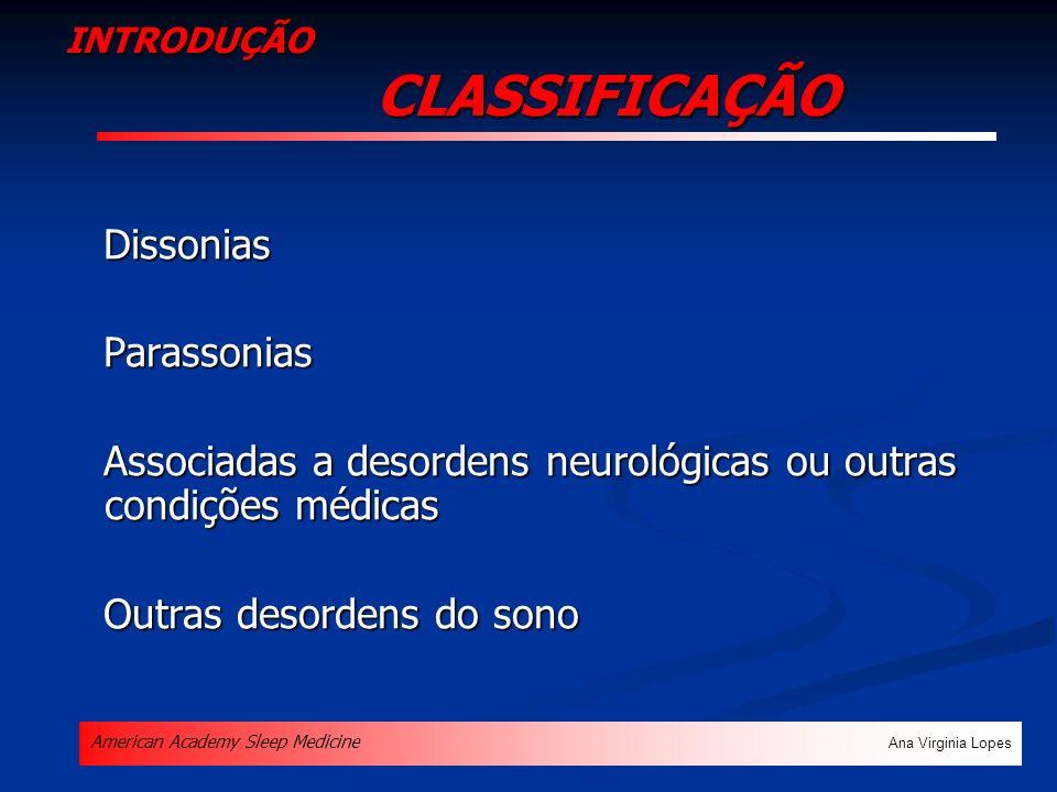 INTRODUÇÃO CLASSIFICAÇÃO Dissonias Dissonias Parassonias Parassonias Associadas a desordens neurológicas ou outras condições médicas Associadas a deso
