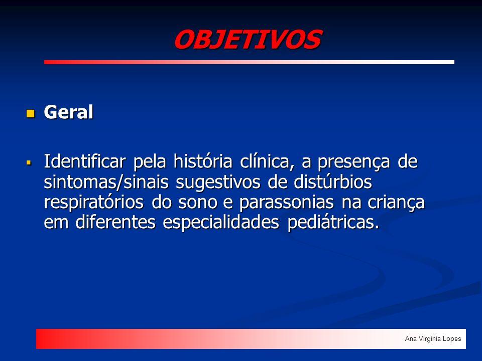 OBJETIVOS Ana Virginia Lopes Geral Geral Identificar pela história clínica, a presença de sintomas/sinais sugestivos de distúrbios respiratórios do so