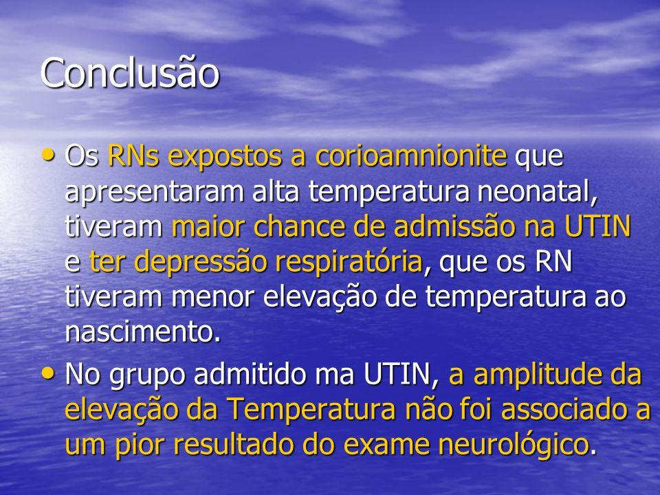 Conclusão Os RNs expostos a corioamnionite que apresentaram alta temperatura neonatal, tiveram maior chance de admissão na UTIN e ter depressão respir