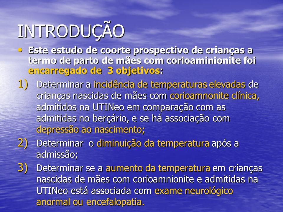 Métodos Os RNs foram divididos em 2 grupos baseados na temperatura retal com valor de coorte de 37,8°C; Os RNs foram divididos em 2 grupos baseados na temperatura retal com valor de coorte de 37,8°C; Depressão ao nascimento: cada necessidade de VPP>2mim, intubação e Ápgar 2mim, intubação e Ápgar<6 em 5mim; O exame neurológico e a avaliação de encefalopatia (Samat staging) foi realizada ao nascimento e depois diariamente, pela averiguação de um investigador cego(?).