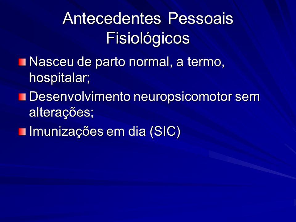 Antecedentes Pessoais Fisiológicos Nasceu de parto normal, a termo, hospitalar; Desenvolvimento neuropsicomotor sem alterações; Imunizações em dia (SIC)