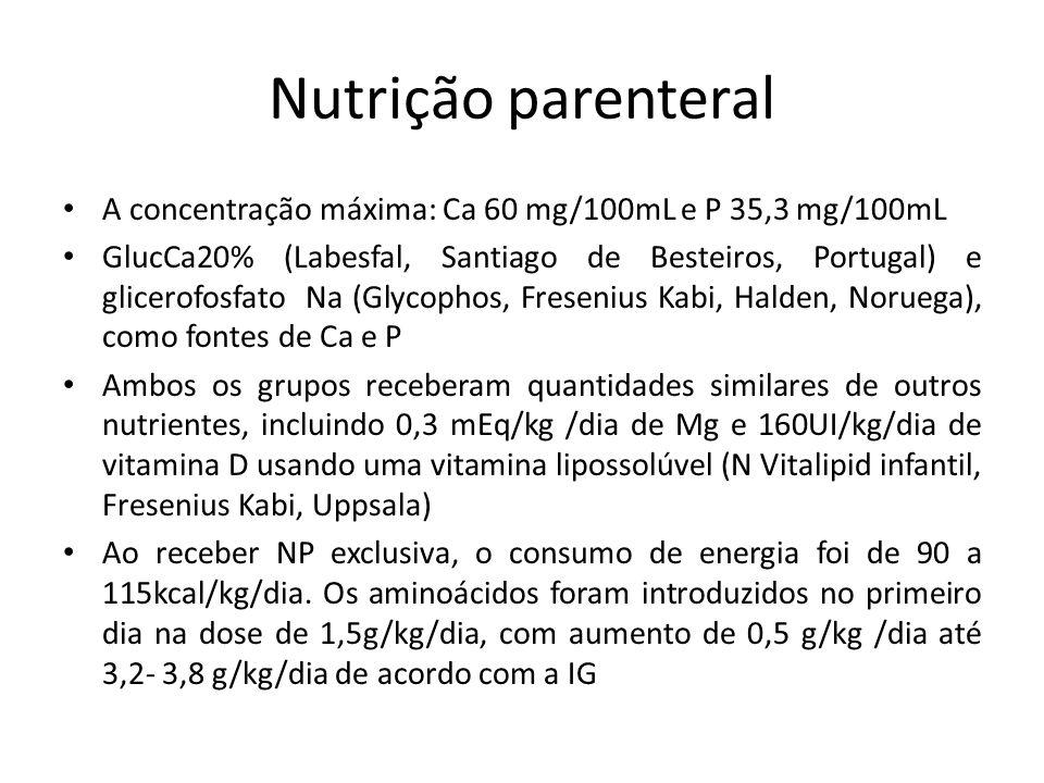 Nutrição parenteral A concentração máxima: Ca 60 mg/100mL e P 35,3 mg/100mL GlucCa20% (Labesfal, Santiago de Besteiros, Portugal) e glicerofosfato Na