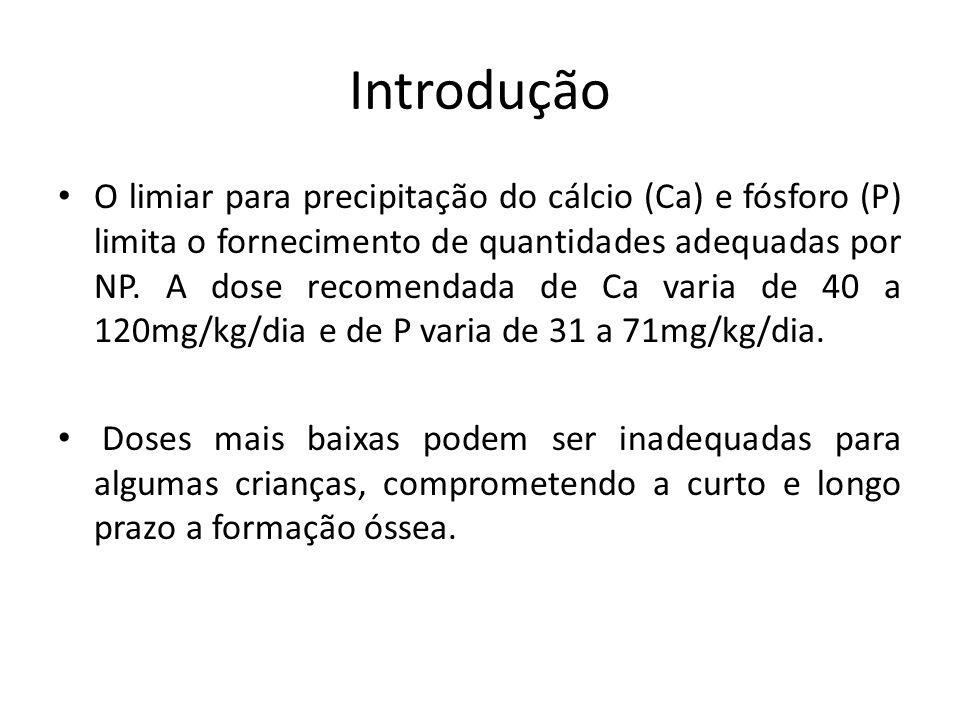 Introdução O limiar para precipitação do cálcio (Ca) e fósforo (P) limita o fornecimento de quantidades adequadas por NP. A dose recomendada de Ca var