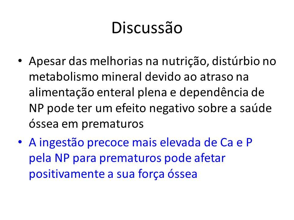 Discussão Apesar das melhorias na nutrição, distúrbio no metabolismo mineral devido ao atraso na alimentação enteral plena e dependência de NP pode te
