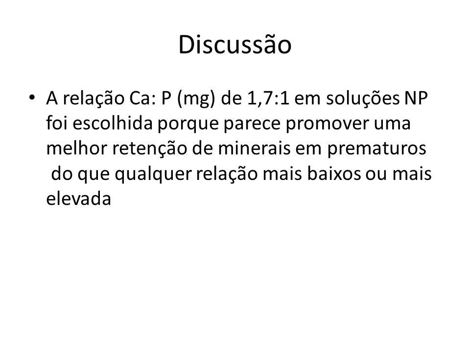 Discussão A relação Ca: P (mg) de 1,7:1 em soluções NP foi escolhida porque parece promover uma melhor retenção de minerais em prematuros do que qualq