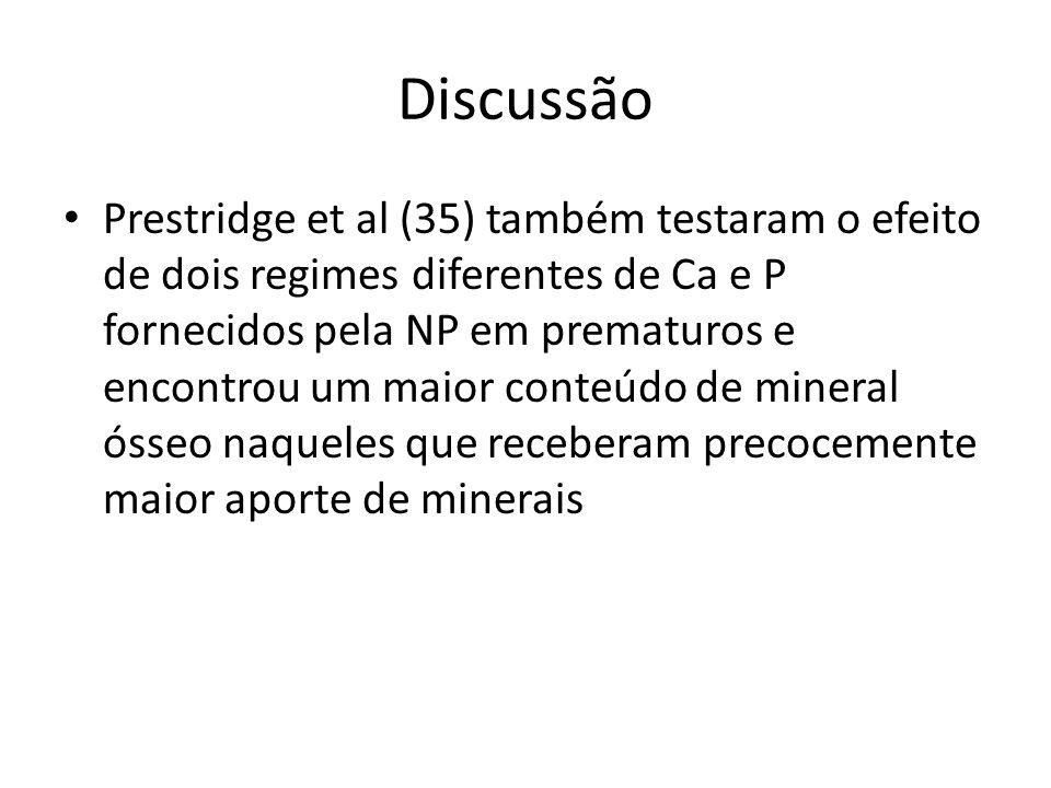 Discussão Prestridge et al (35) também testaram o efeito de dois regimes diferentes de Ca e P fornecidos pela NP em prematuros e encontrou um maior co
