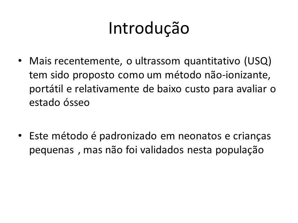 Introdução Mais recentemente, o ultrassom quantitativo (USQ) tem sido proposto como um método não-ionizante, portátil e relativamente de baixo custo p