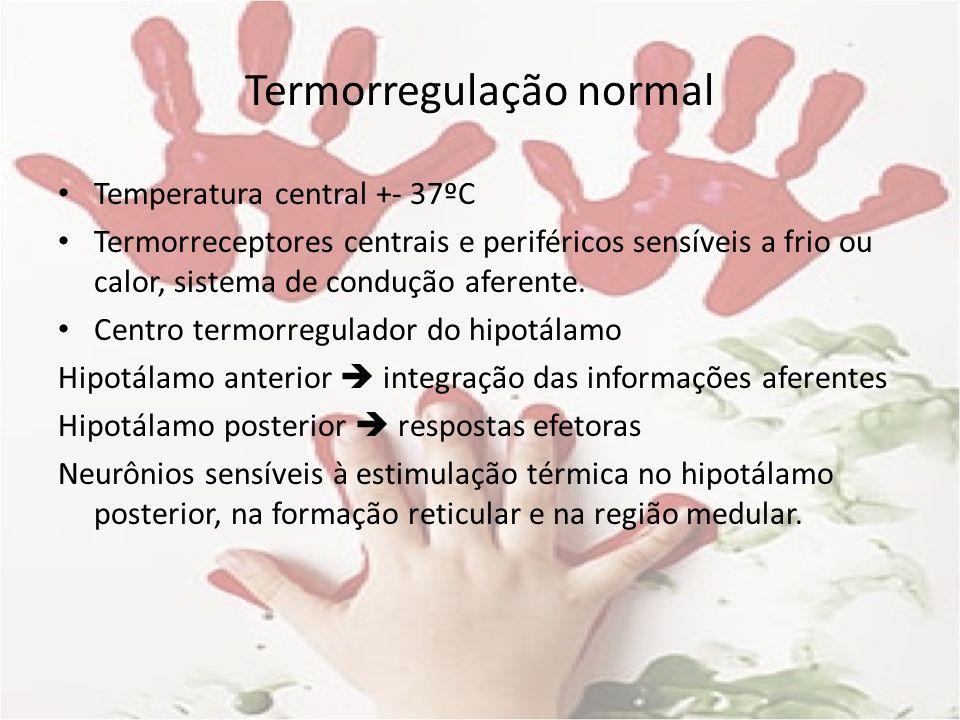 Termorregulação normal Temperatura central +- 37ºC Termorreceptores centrais e periféricos sensíveis a frio ou calor, sistema de condução aferente. Ce
