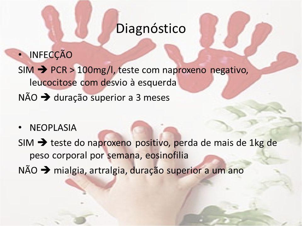 Diagnóstico INFECÇÃO SIM PCR > 100mg/l, teste com naproxeno negativo, leucocitose com desvio à esquerda NÃO duração superior a 3 meses NEOPLASIA SIM t