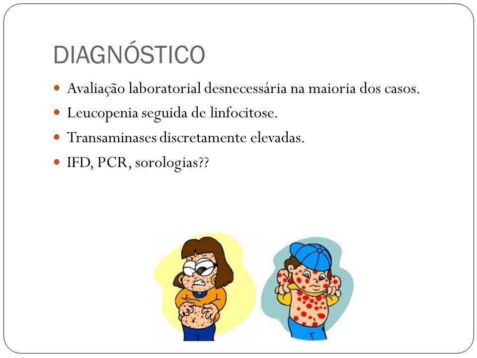 DIAGNÓSTICO Avaliação laboratorial desnecessária na maioria dos casos. Leucopenia seguida de linfocitose. Transaminases discretamente elevadas. IFD, P