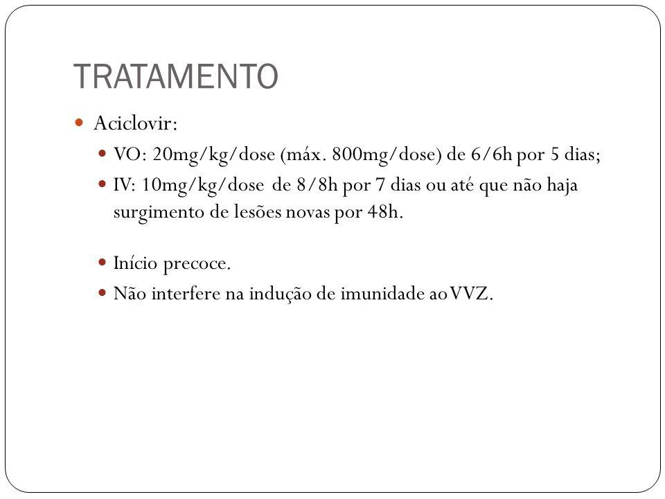 TRATAMENTO Aciclovir: VO: 20mg/kg/dose (máx. 800mg/dose) de 6/6h por 5 dias; IV: 10mg/kg/dose de 8/8h por 7 dias ou até que não haja surgimento de les