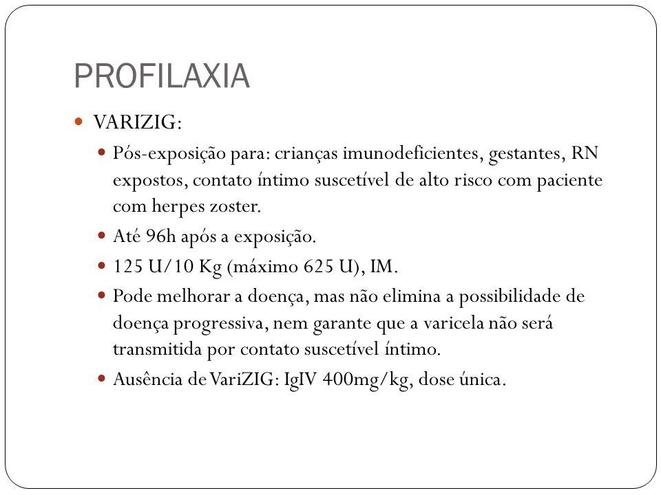 PROFILAXIA VARIZIG: Pós-exposição para: crianças imunodeficientes, gestantes, RN expostos, contato íntimo suscetível de alto risco com paciente com he