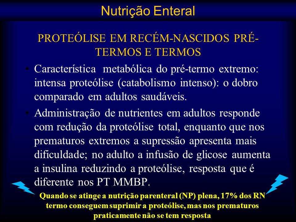 PROTEÓLISE EM RECÉM-NASCIDOS PRÉ- TERMOS E TERMOS Característica metabólica do pré-termo extremo: intensa proteólise (catabolismo intenso): o dobro co