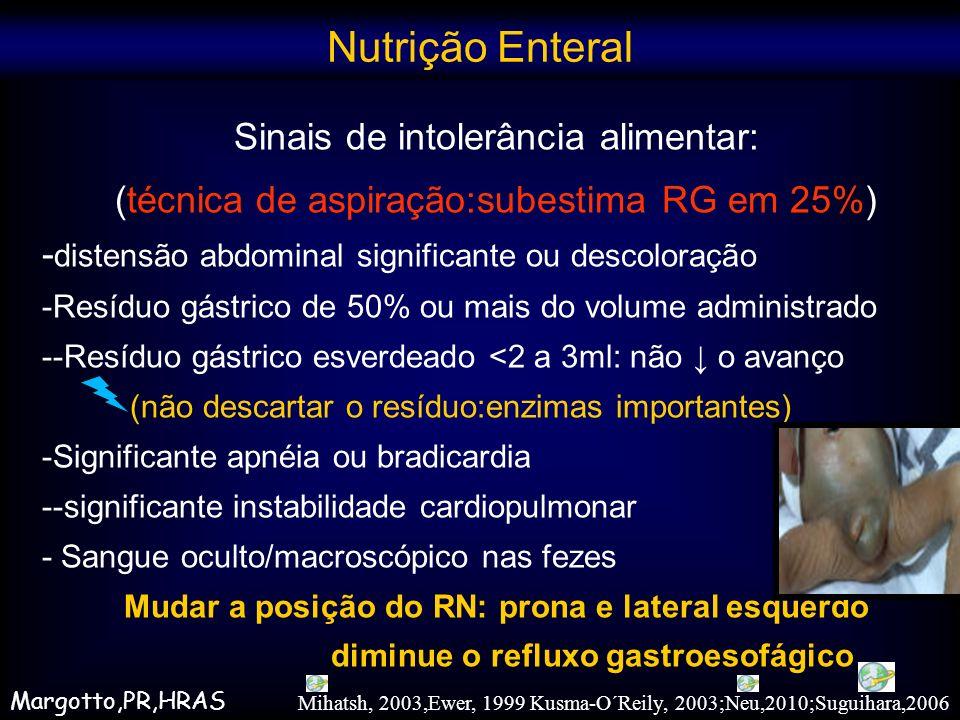 Sinais de intolerância alimentar: (técnica de aspiração:subestima RG em 25%) - distensão abdominal significante ou descoloração -Resíduo gástrico de 5