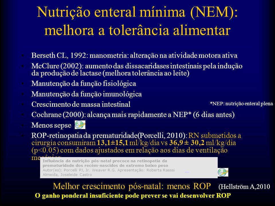 Início da via digestiva:LEITE HUMANO CRU -24-48 horas: 8ml/kga 12-24ml/kg com aumento lento na primeira semana -<1000g: 1-2 ml cada 4-6 horas ->=1000g: 2-3 ml cada 4-6 horas A partir do 7º dia, aumentar: 10ml/kg/dia ( =800g) Objetivo: NEP aos 14 dias (100- 120cals/kg/dia) Margotto,PR,HRAS Nutrição Enteral Mínima