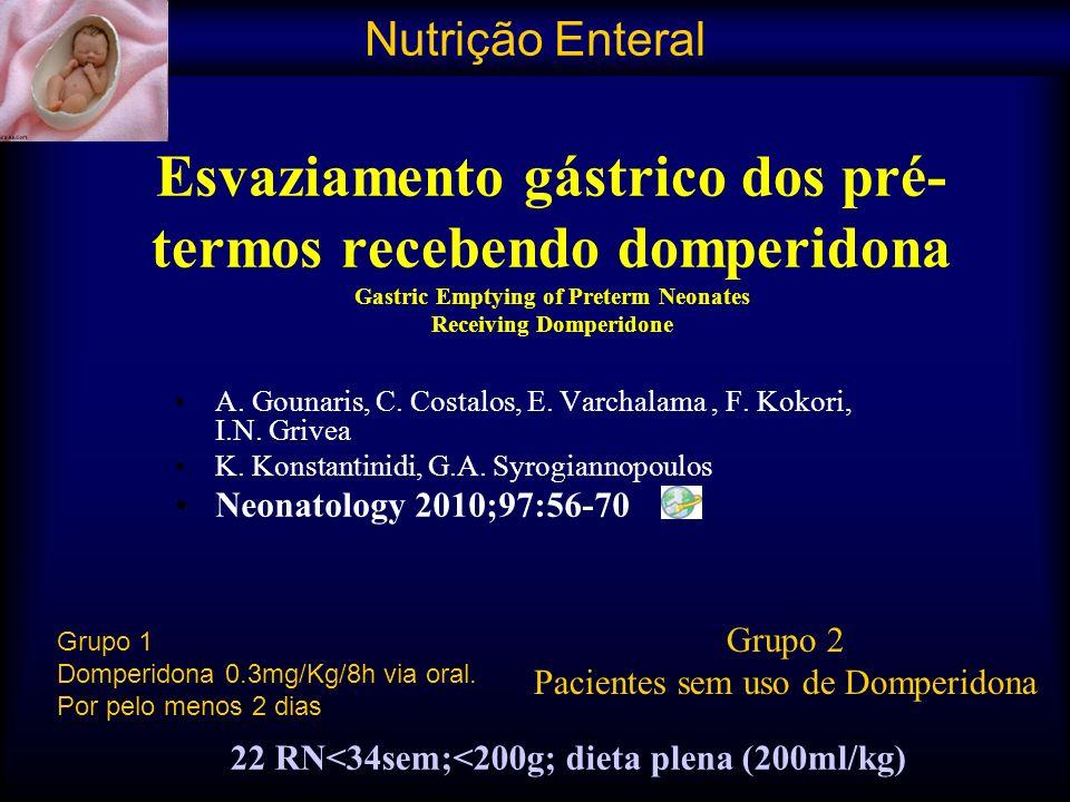 Esvaziamento gástrico dos pré- termos recebendo domperidona Gastric Emptying of Preterm Neonates Receiving Domperidone A. Gounaris, C. Costalos, E. Va