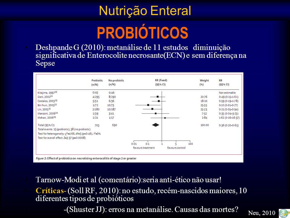 PROBIÓTICOS Deshpande G (2010): metanálise de 11 estudos diminuição significativa de Enterocolite necrosante(ECN) e sem diferença na Sepse Tarnow-Modi
