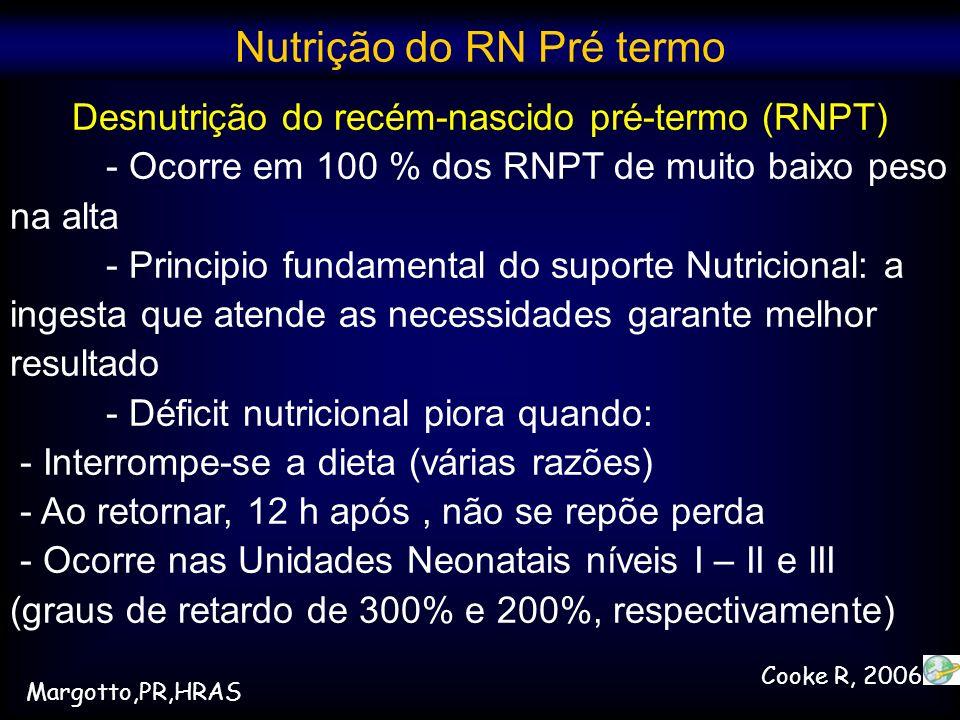 Desnutrição do recém-nascido pré-termo (RNPT) - Ocorre em 100 % dos RNPT de muito baixo peso na alta - Principio fundamental do suporte Nutricional: a