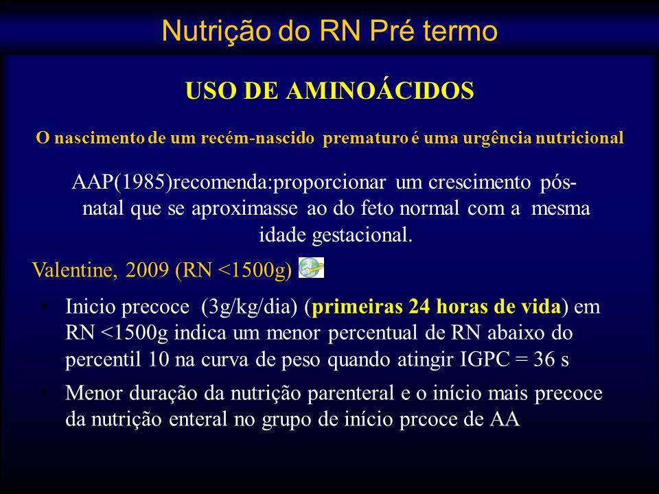 USO DE AMINOÁCIDOS O nascimento de um recém-nascido prematuro é uma urgência nutricional Inicio precoce (3g/kg/dia) (primeiras 24 horas de vida) em RN