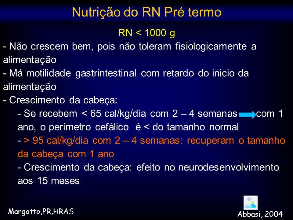 RN < 1000 g - Não crescem bem, pois não toleram fisiologicamente a alimentação - Má motilidade gastrintestinal com retardo do inicio da alimentação -