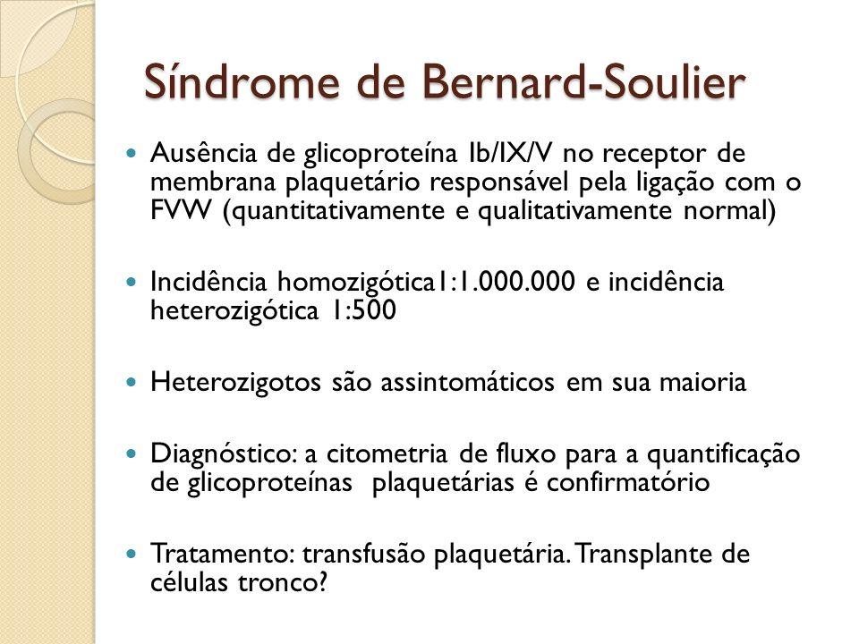 Síndrome de Bernard-Soulier Ausência de glicoproteína Ib/IX/V no receptor de membrana plaquetário responsável pela ligação com o FVW (quantitativament