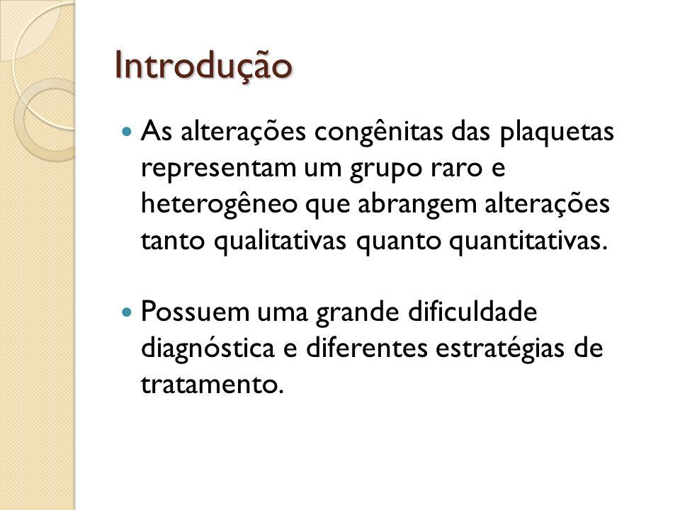 Introdução As alterações congênitas das plaquetas representam um grupo raro e heterogêneo que abrangem alterações tanto qualitativas quanto quantitati