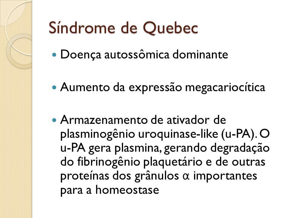 Síndrome de Quebec Doença autossômica dominante Aumento da expressão megacariocítica Armazenamento de ativador de plasminogênio uroquinase-like (u-PA)