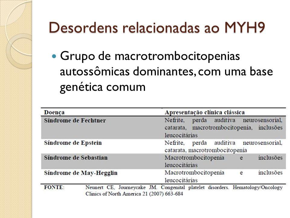 Desordens relacionadas ao MYH9 Grupo de macrotrombocitopenias autossômicas dominantes, com uma base genética comum