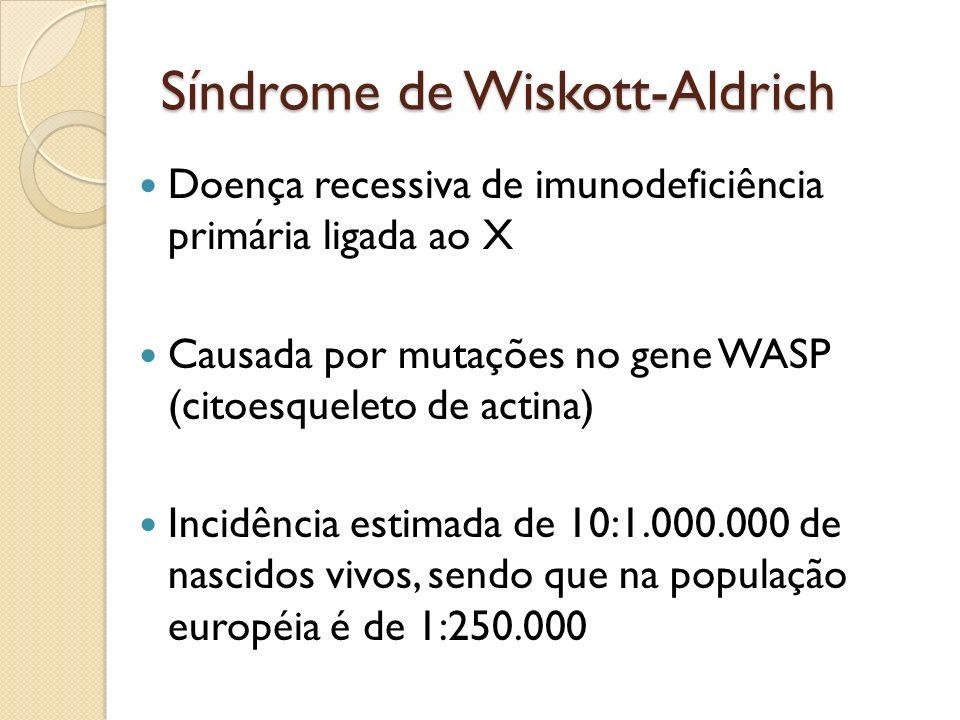 Síndrome de Wiskott-Aldrich Doença recessiva de imunodeficiência primária ligada ao X Causada por mutações no gene WASP (citoesqueleto de actina) Inci