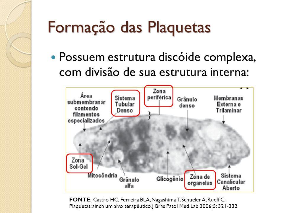 Formação das Plaquetas Possuem estrutura discóide complexa, com divisão de sua estrutura interna: FONTE: Castro HC, Ferreira BLA, Nagashima T, Schuele