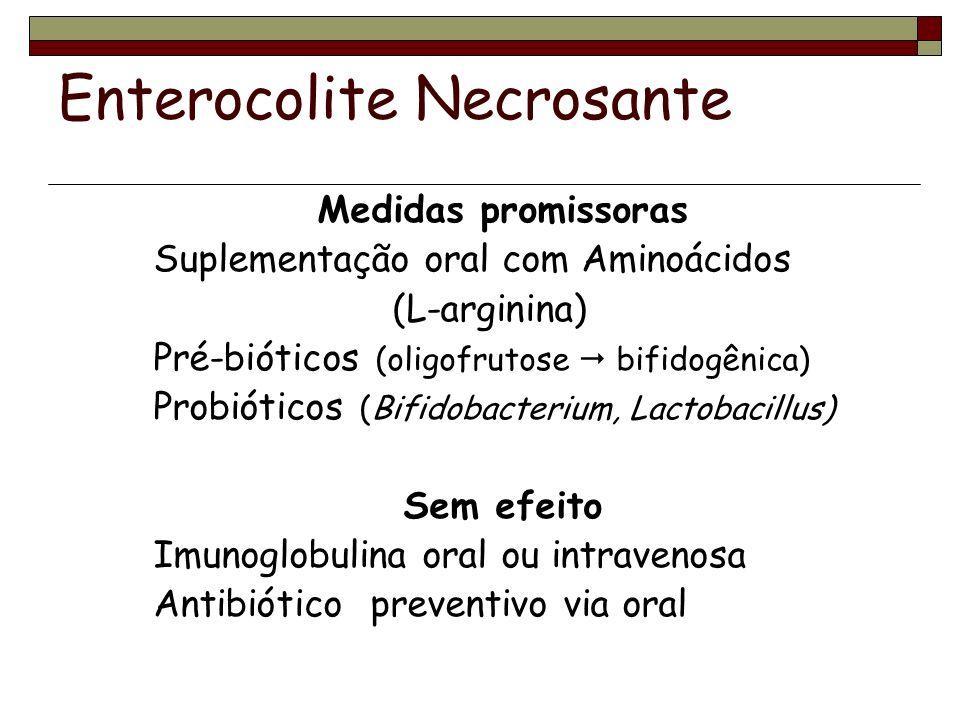Enterocolite Necrosante Medidas promissoras Suplementação oral com Aminoácidos (L-arginina) Pré-bióticos (oligofrutose bifidogênica) Probióticos (Bifidobacterium, Lactobacillus) Sem efeito Imunoglobulina oral ou intravenosa Antibiótico preventivo via oral