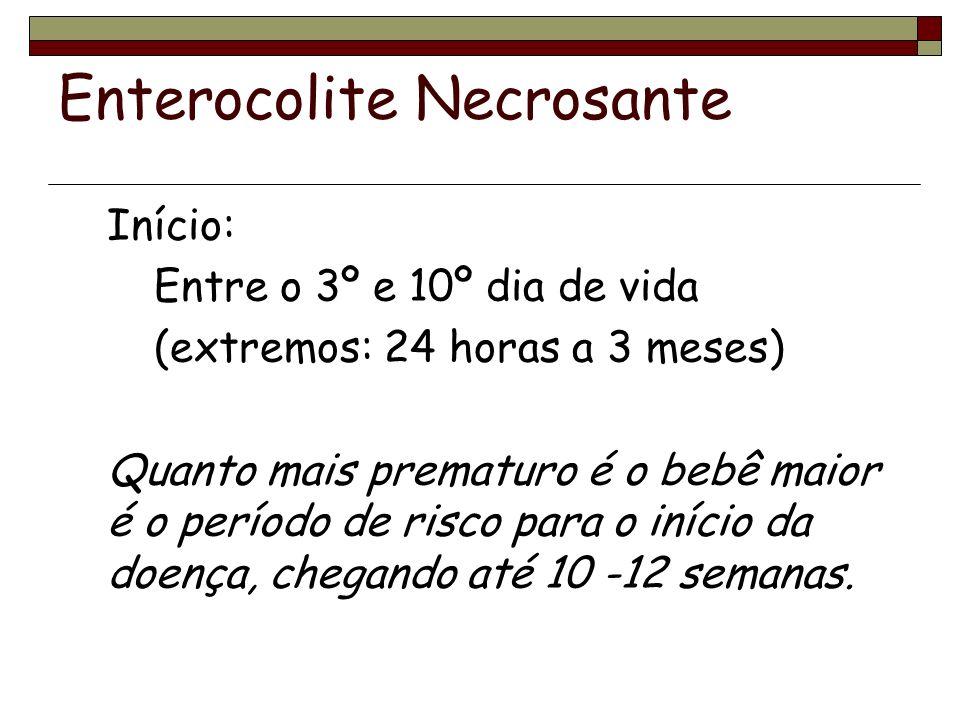 Enterocolite Necrosante Achados Radiológicos Distensão e edema de alças Pneumatose intestinal Gás na veia porta Pneumoperitônio Alça fixa