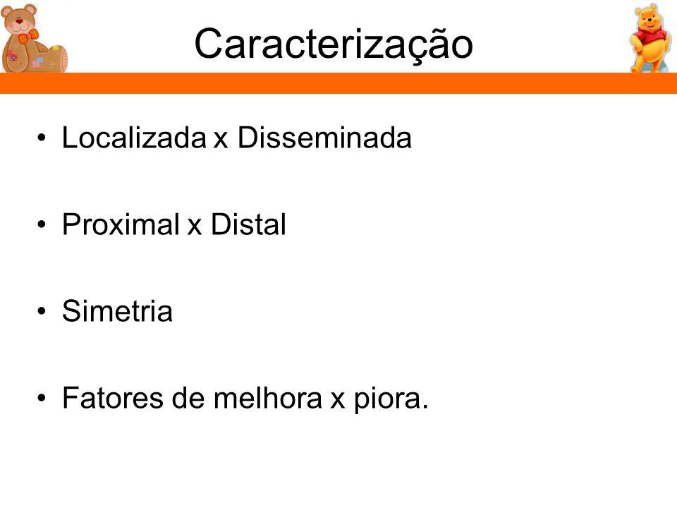 Caracterização Localizada x Disseminada Proximal x Distal Simetria Fatores de melhora x piora.