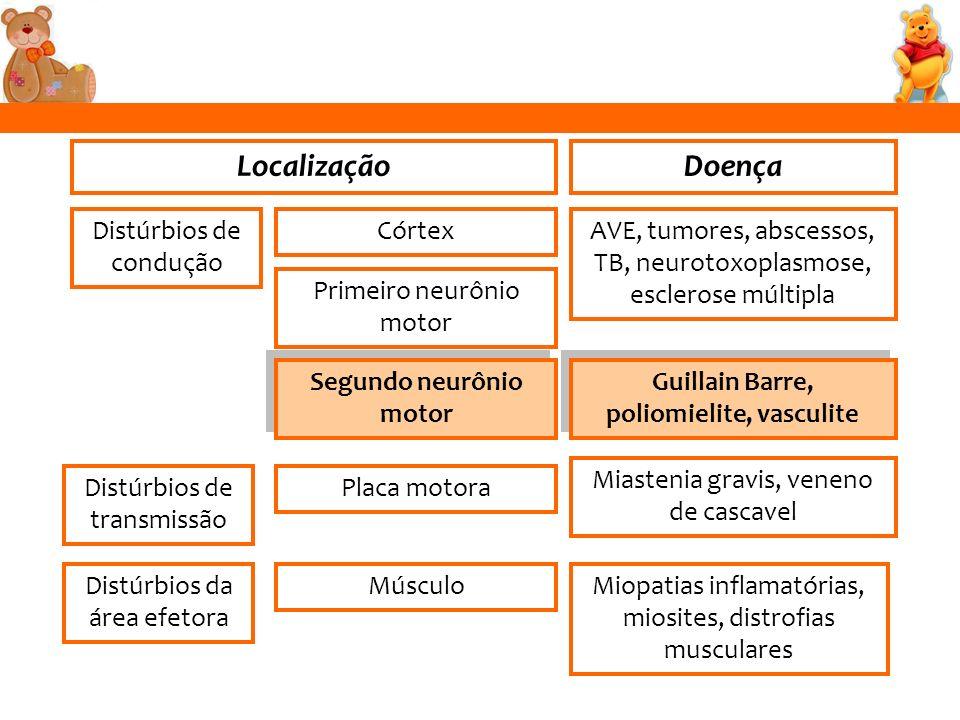 LocalizaçãoDoença Distúrbios de condução Distúrbios de transmissão Distúrbios da área efetora Segundo neurônio motor Primeiro neurônio motor Córtex Pl