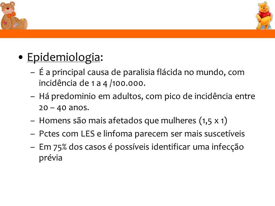 Epidemiologia: –É a principal causa de paralisia flácida no mundo, com incidência de 1 a 4 /100.000. –Há predominio em adultos, com pico de incidência